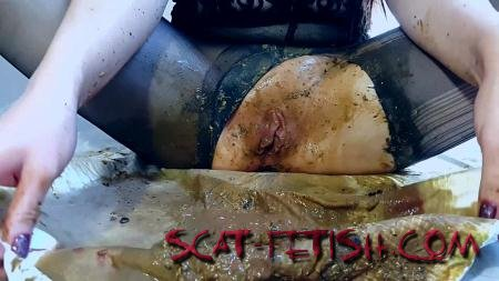 Shit In Pantyhose (Anna Coprofield) Black Pantyhose Diarrhea Ass Spoiled [FullHD 1080p] Smearing, Solo