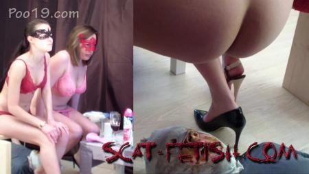 Humiliation Scat (Smelly Milana) 2 mistresses used a toilet slave [FullHD 1080p] Femdom, Shitting