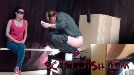 Group Femdom (MilanaSmelly) Toilet slave eating 2 shit sitting in a box [HD 720p] Scat Porn, Humiliation