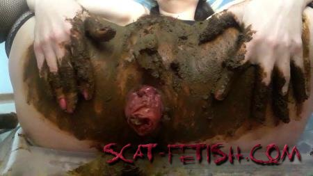 Extreme Scat (ScatLina) Anal prolapse in shit [FullHD 1080p] Defecation, Solo