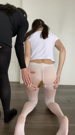 Shit In Pantyhose (TheHealthyWhores) Shitting myself inside white pantyhose [UltraHD 2K] Solo, Teen